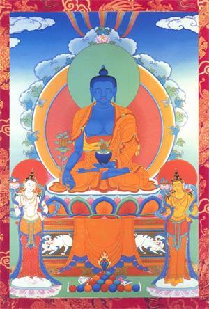 """图例: 居中盘坐的药师佛和左右站立的两位菩萨。药师佛全称""""药师琉璃光王如来"""",佛教中认为,青金石蓝色是药师佛的身色。"""