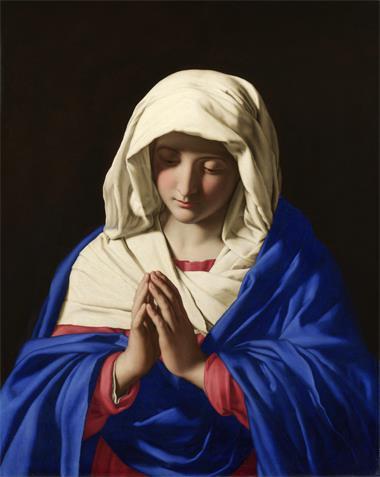 图例:意大利画家萨索费拉托(Giovanni Battista Salvi da Sassoferrato)所绘的圣玛利亚,约作于1654年。画中圣玛利亚服装的群青色是由青金石研磨并提纯制成。