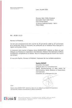 '图6:法国里昂市五区副市长办公室的信件。'